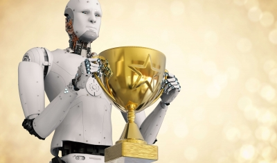 3D rendering of robot with trophy