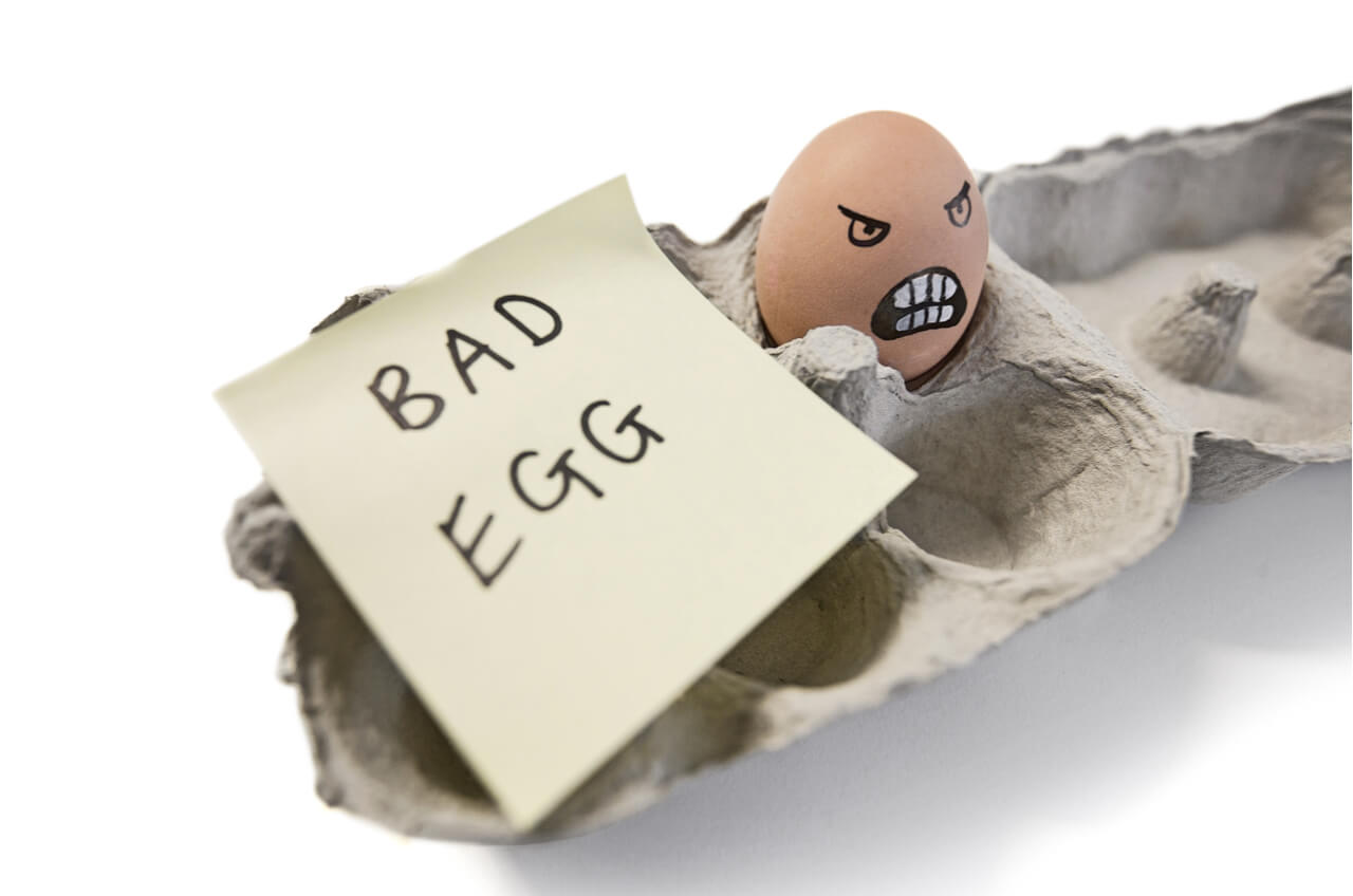 Egg in crate with Post-It