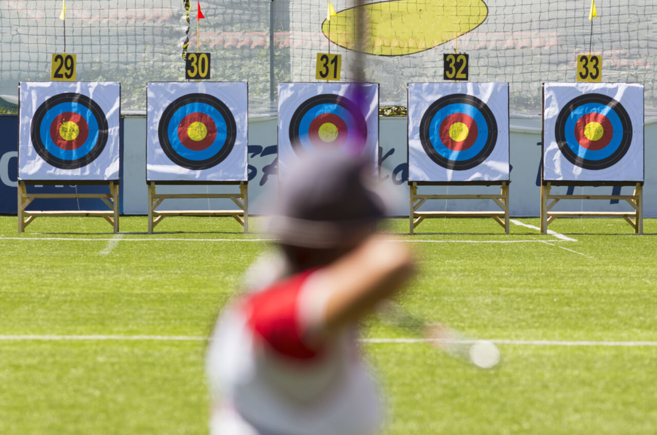 archer aiming at targets