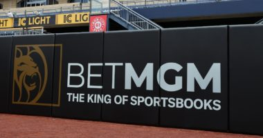 BetMGM Pirates promos on the outfield wall.